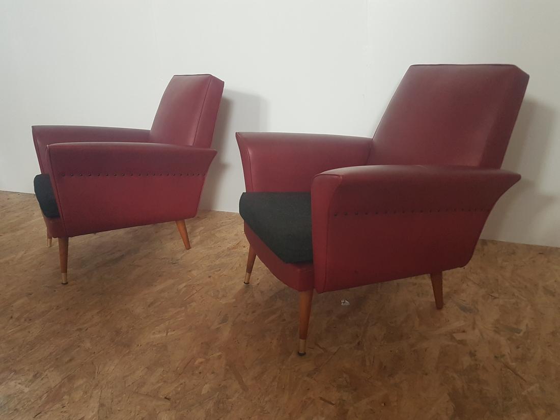 2 bordeaux 60's zetels