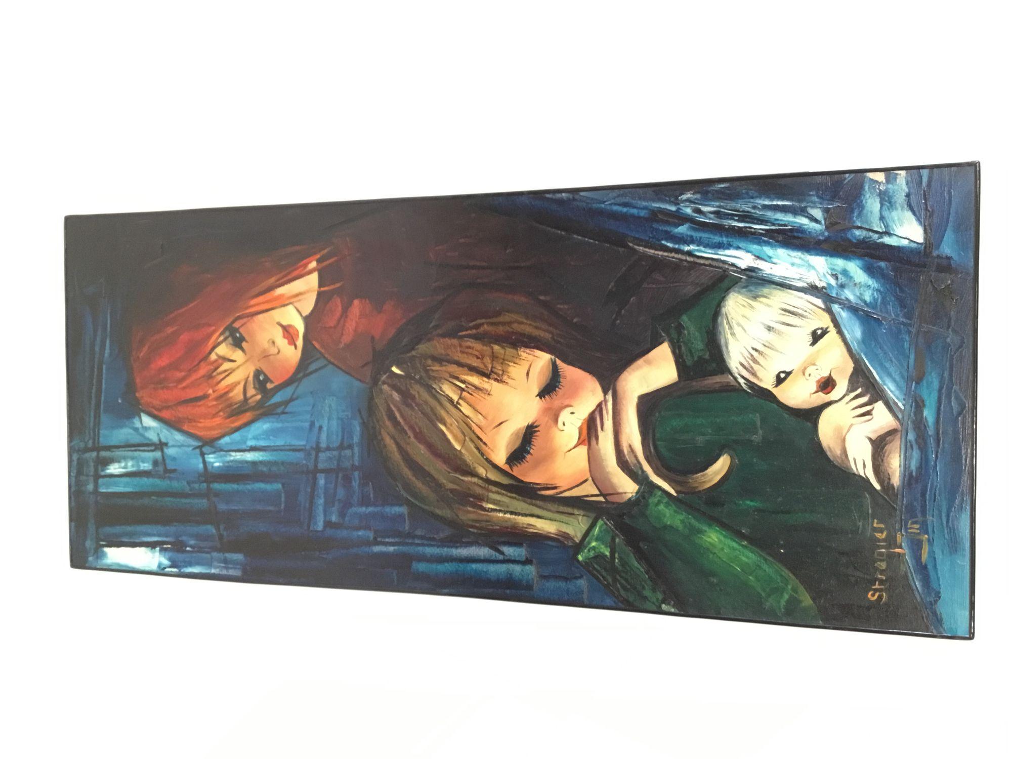 Schilderij op hout meisjes